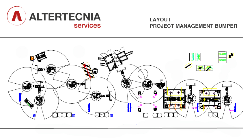 Layout bumper Project Management para empresa de automoción